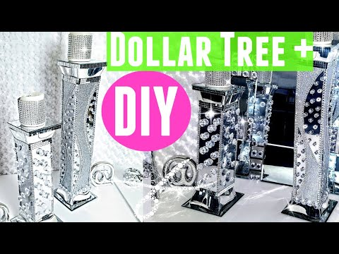 DIY Faux Mirror & Crystal Tower Candle Holders | Dollar Tree Room Decor | Cheap & Easy Diy
