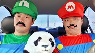 Super Mario surprise Panda in Dancing Car Ride