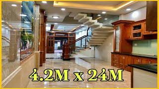 Bán nhà Gò Vấp( 167 )4.2m x 24m Nhà mặt tiền 3 lầu nội thất đẹp Gara xe hơi riêng Phan Huy Ích
