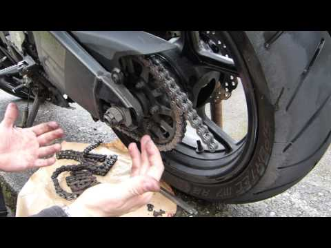 Motorcycle chain riveting with simple tools at home