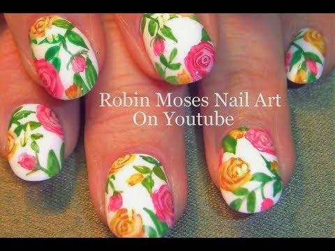 Original Rose Nail Art Design Hand Painted Roses On Nails Made