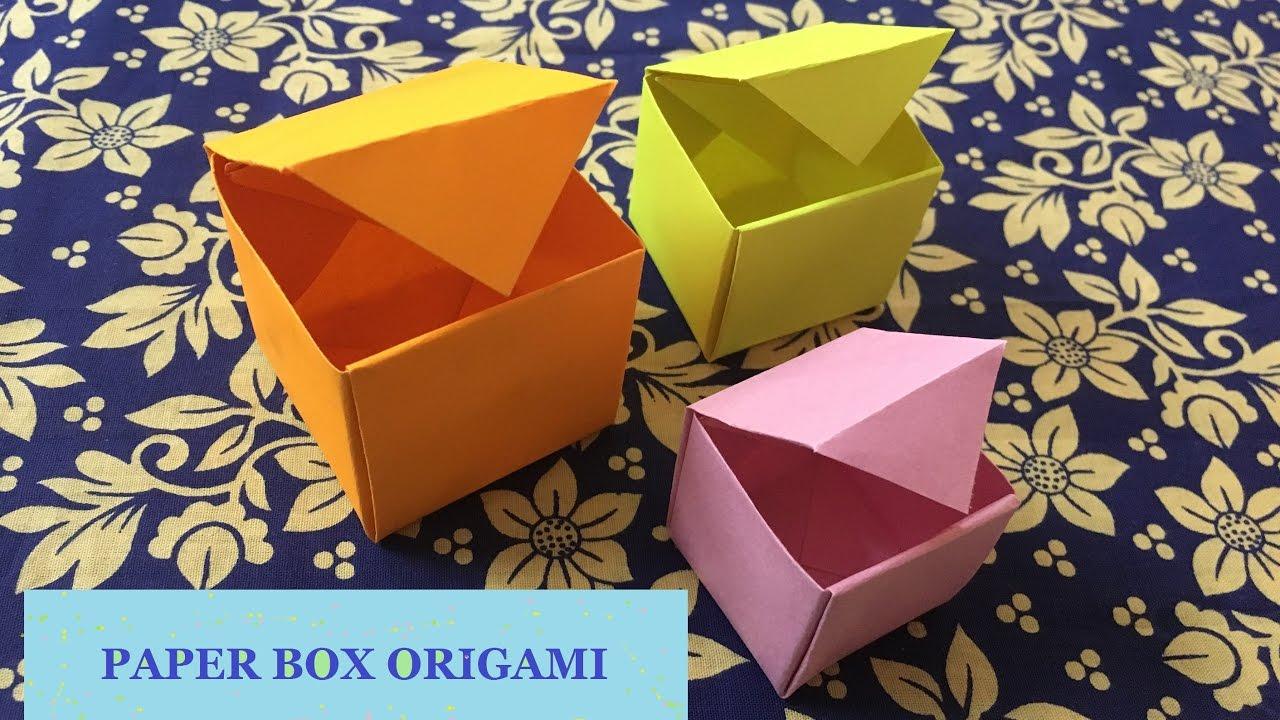 Paper Box Origami Tutorial Paper Craft Ideas Youtube