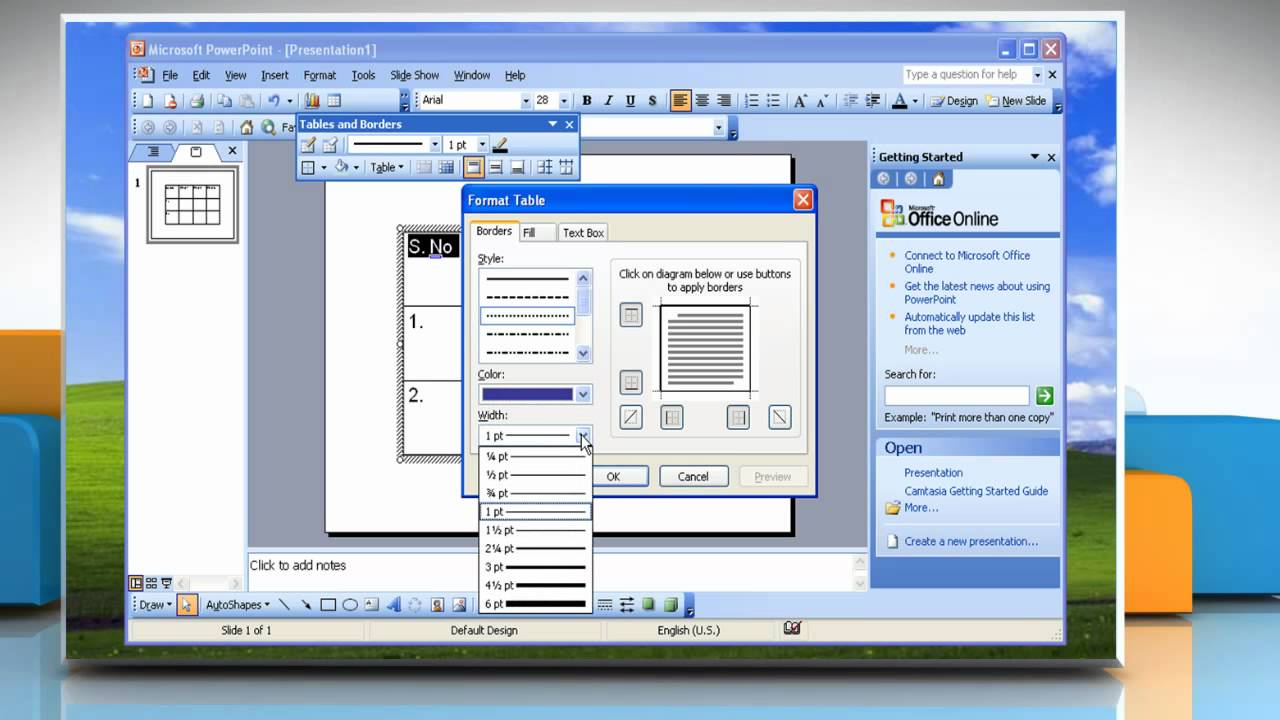 Microsoft powerpoint 2003 how to create and format a table on microsoft powerpoint 2003 how to create and format a table on windows xp toneelgroepblik Choice Image