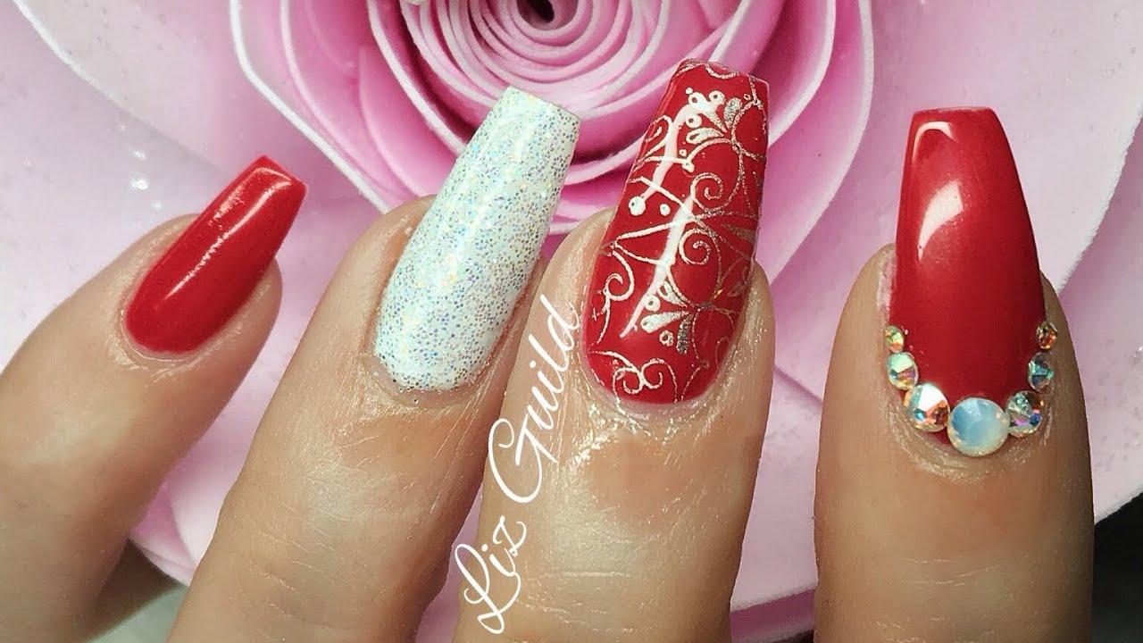 Acrylic Nails   Red Nails   Xmas Nails   Nail Art - YouTube