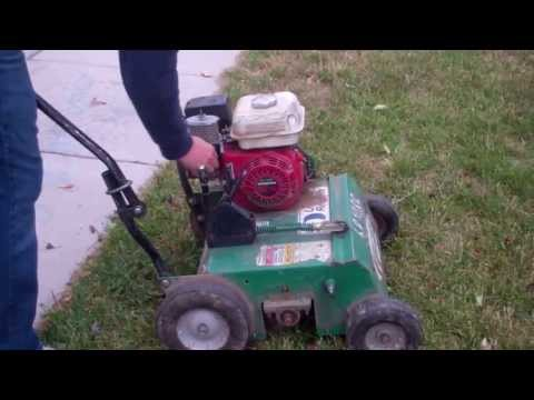 Dethatching The Lawn With A Mantis Dethatcher Attachment