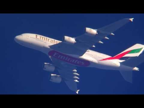 A380  Emirates contrail spotting