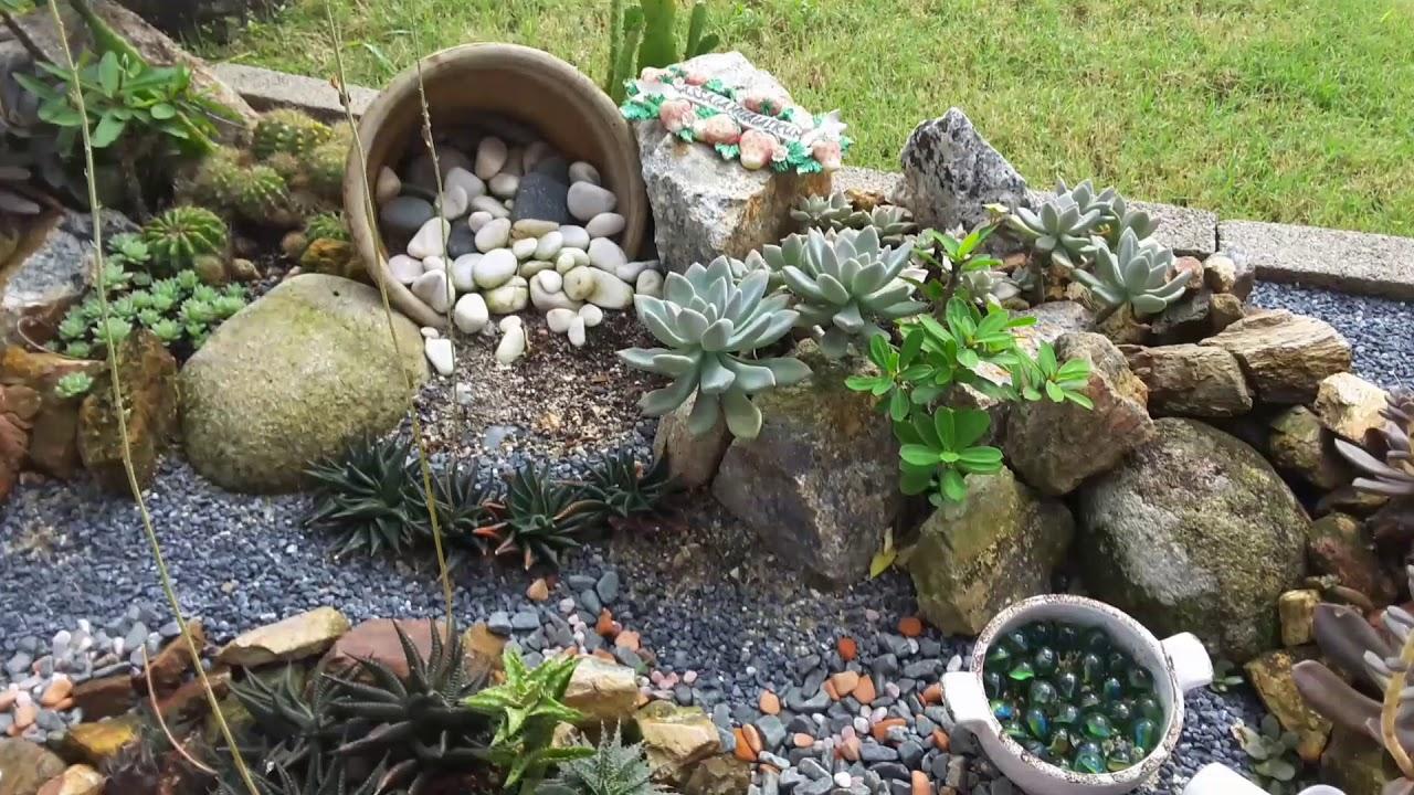 After 7 Months Succulents Rock Garden Youtube