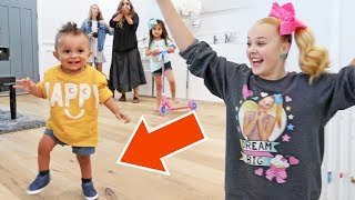 JOJO SIWA TEACHES JAYDEN HOW TO WALK FOR THE FIRST TIME! thumbnail