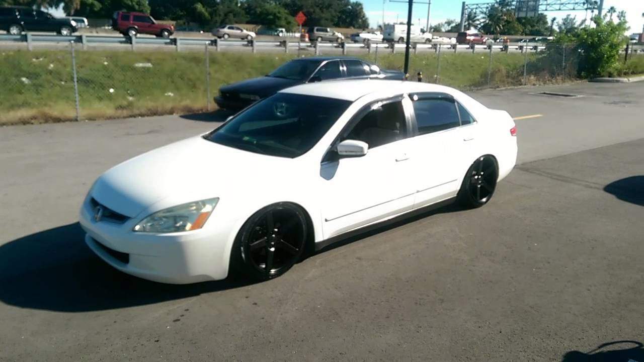 2003 White Honda Accord >> 877-544-8473 18 Inch Traklite TRAK-K Black Concave rims 2003 Honda Accord Wheels slammed ...