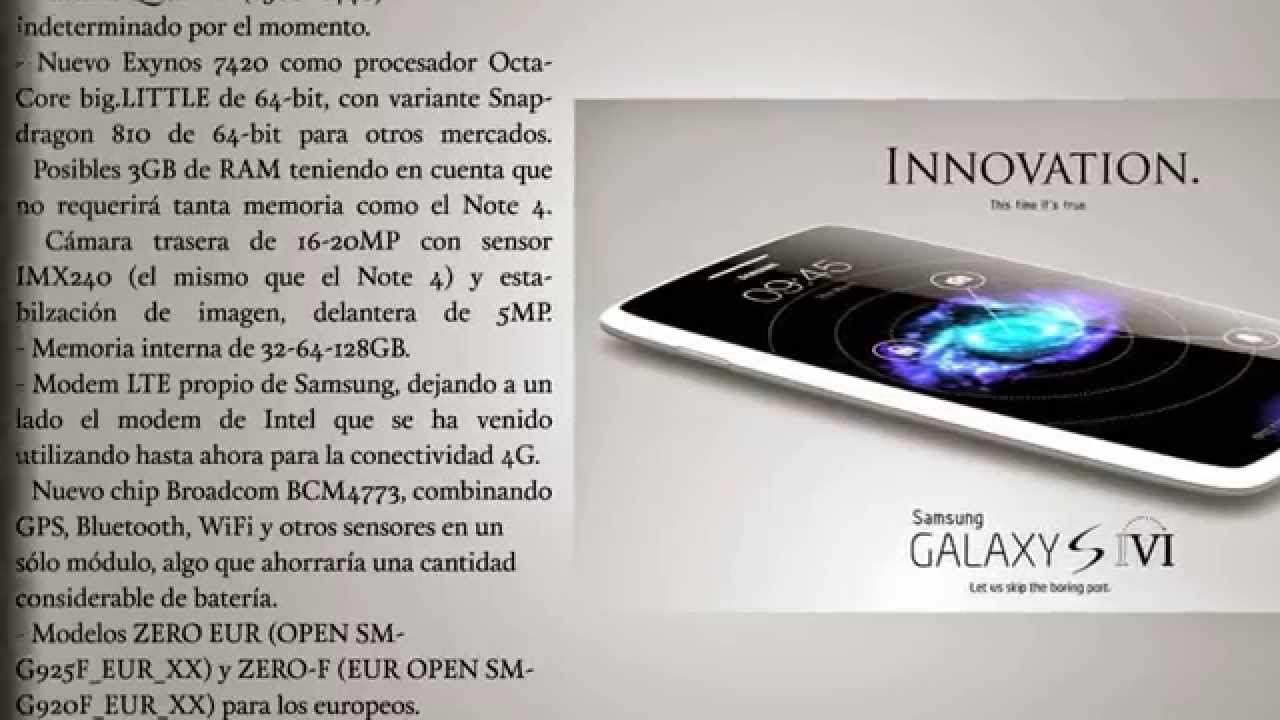 Samsung Galaxy S6, Features and Specifications (caracteristicas y especificaciones filtradas