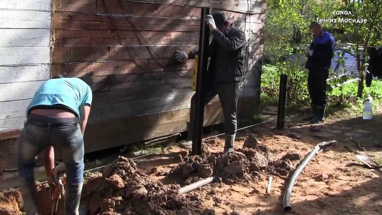 Пристройка к дому на винтовых сваях. Часть 1. Фундамент. Foundation on screw piles.