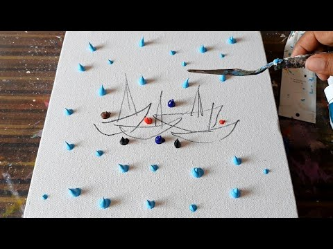 Red Sail Boats ⛵⛵/ Abstract Painting Demo in Acrylics / Relaxing / Daily Art Therapy / Day #0193