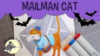 Day 3 | Mailman Cat Copic Sketch Drawing | My Favorite Halloween Movies