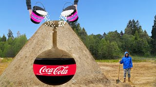 Experiment: Giant Volcano with Coca Cola VS Mentos. Volcanic Eruption!