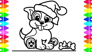 How to Draw a Puppy Step by Step| Christmas Puppy Coloring Page| Original Art| Coloring for Kids