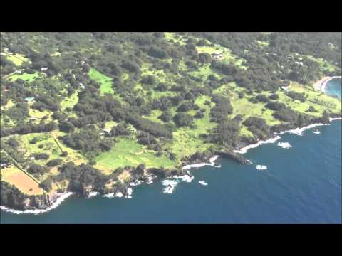 Flying over Maui on a helicopter