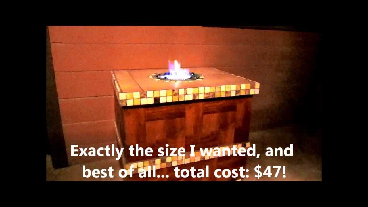 Home built ethanol fire pit table youtube for Alcohol fire pit