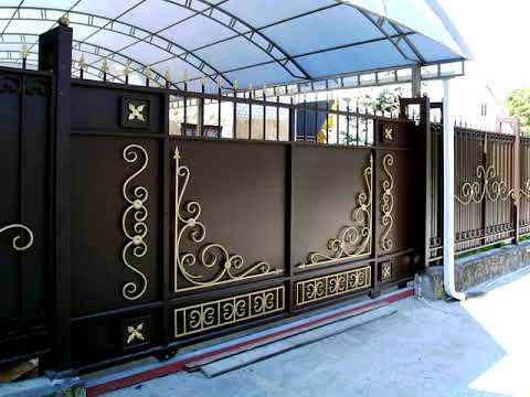Откатные ворота во двор частного дома металлические