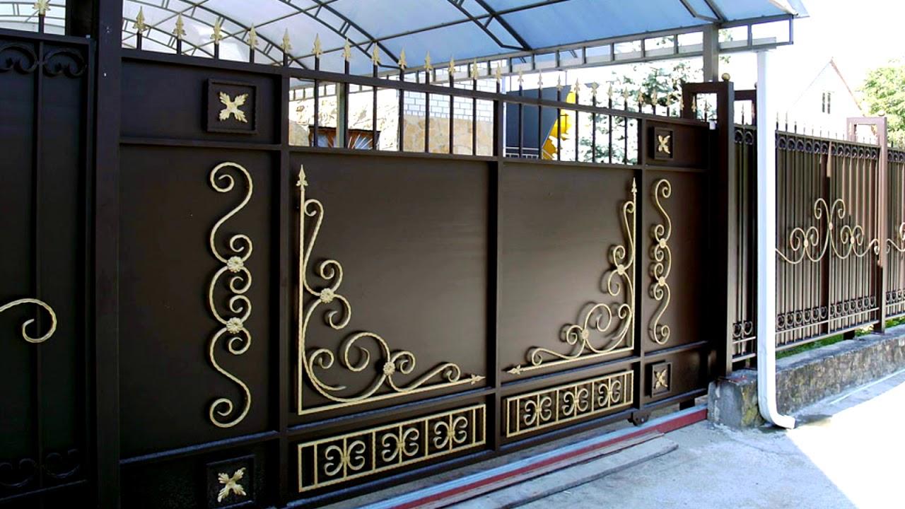 Откатные ворота во двор частного дома металлические - YouTube