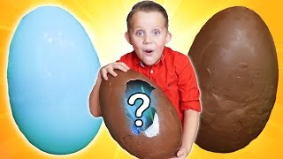 Giant Chocolate Surprise Egg + Gummi Candy Surprise! Kids Candy Fun!