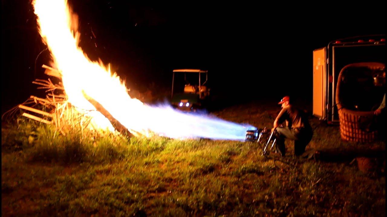 Making A Big Bonfire Very Quickly Using Propane Burner Youtube