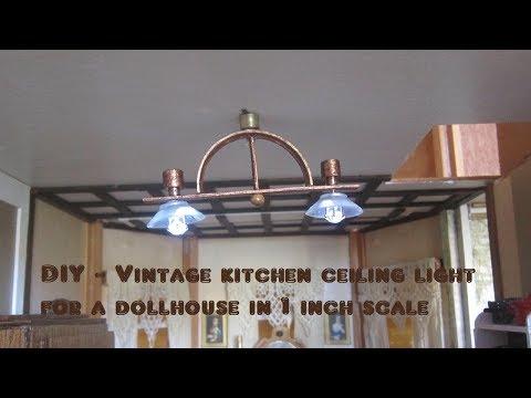 Kitchen light fixture vintage 1 inch scale DIY