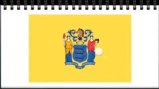 US State Flag Mnemonics - State Flags with Gold Designs and State Flags with White Backgrounds