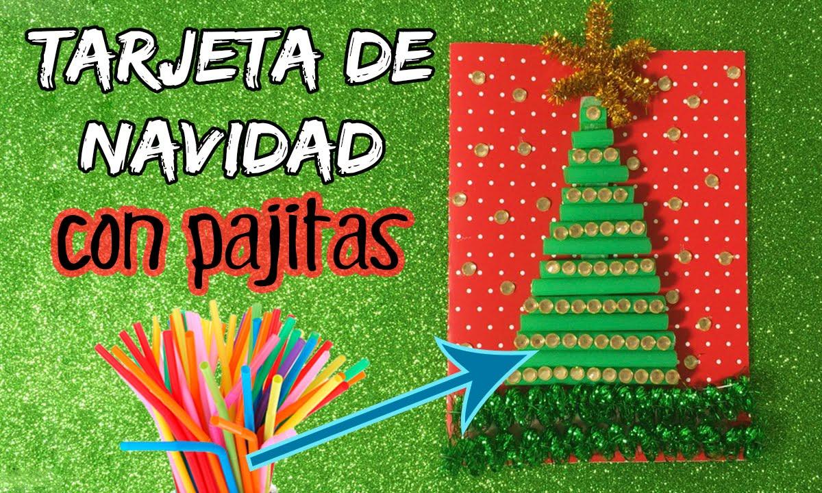 Tarjeta navide a con pajitas manualidades navide as para - Manualidades tarjeta navidena ...