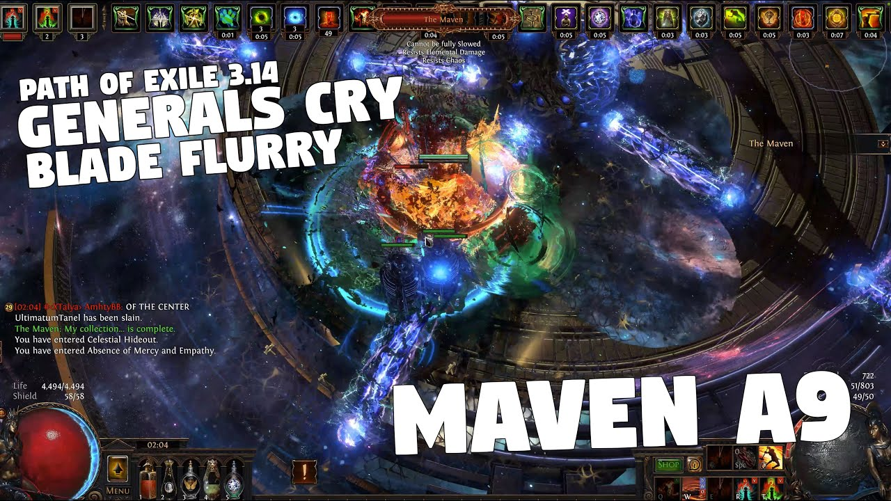 Path of Exile 3.14 - ULTIMATUM - MAVEN A9 Fight - Generals Cry Blade Flurry