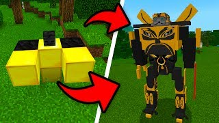 How To Spawn BUMBLEBEE in Minecraft Pocket Edition! (Transformers Addon UPDATE)