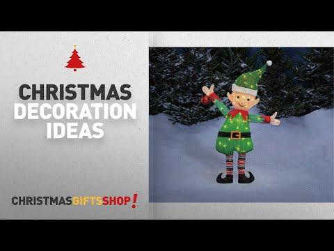 "Top Elf Outdoor Christmas Decorations: 38"" Santa's Elf Tinsel Sculpture Outdoor Christmas Yard Lawn"