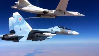 Сопровождение Су-30СМ ракетоносцев Ту-160, выполнивших пуск крылатых ракет над Средиземным морем