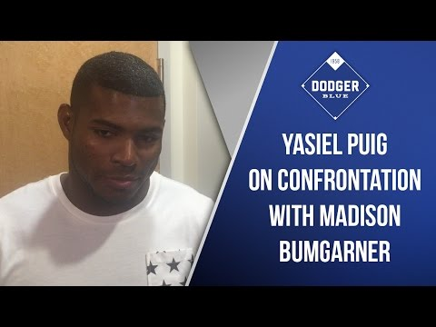 Yasiel Puig On Bench Clearing Madison Bumgarner Confrontation