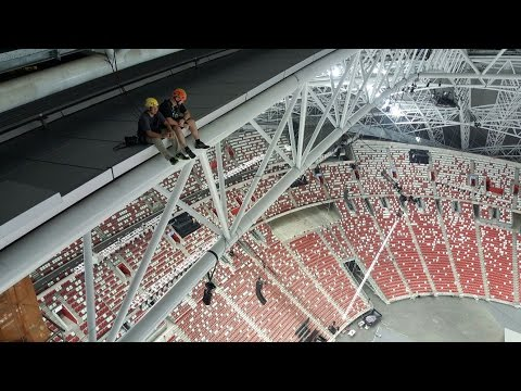 level4: NDP 2016 Rescue. Singapore stadium Practice rope access rescue