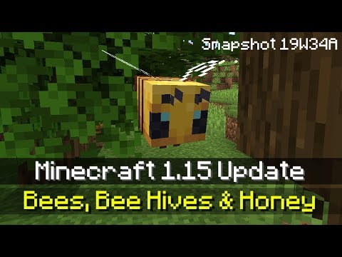 BEES, BEE NESTS & HOW TO TAME A BEE IN MINECRAFT 1.15 (Minecraft 1.15 News - Snapshot Update 19W34A)