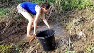 Survival Skills - Primitive Technology - My Girl Friend Catching Fish In Canal | Primitive Daily