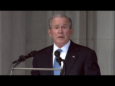 Former President George W. Bush delivers an emotional eulogy at Sen. John McCain's memorial servi…