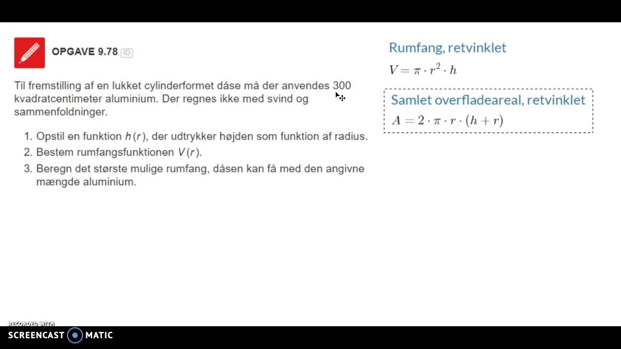 Mat B: Differentialregning : Optimering eksempler