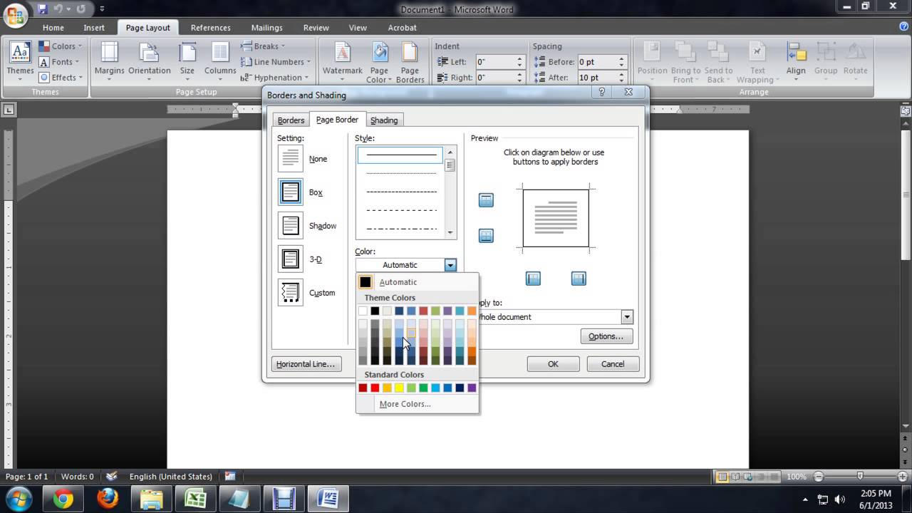 Where Is The Accent In Microsoft Word Page Borders? : Tech