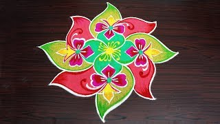 Simple Rangoli Design with 7x1x1 dots Easy kolam design for beginners Pattern muggulu