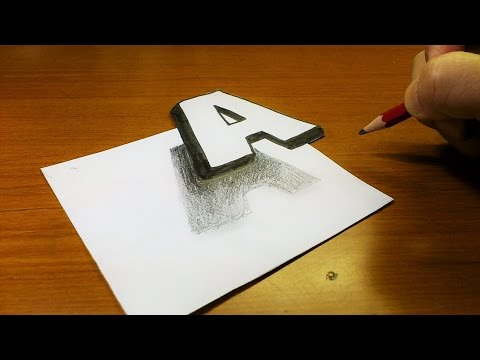 Very Easy!! How To Drawing 3D Floating Letter  A  - Trick Art on Line Paper for kids