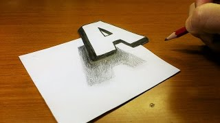 Very Easy!! How To Drawing 3D Floating Letter