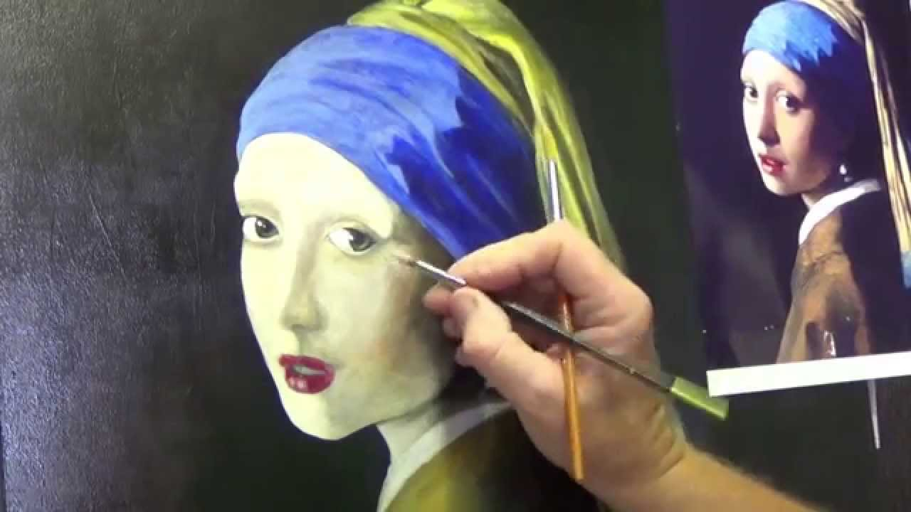 Girl With The Pearl Earring #4 ,acrylic Painting For Beginners, #clive5art