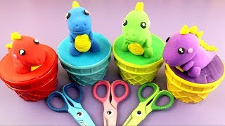 DIY - How To Make Dinosaurs Ice Cream with PlayDoh & Learn Colors | Peppa Pig PJ Masks Surprise Toys