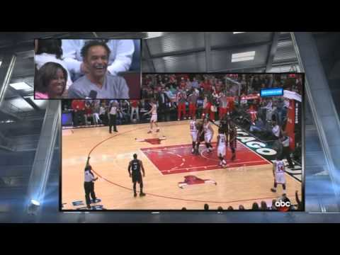 Joakim Noah's dad cheers for Joakim in middle of interview
