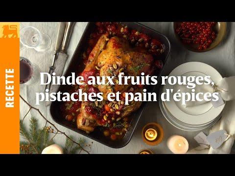 Dinde aux fruits rouges, pistaches et pain d'épices