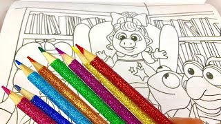 GLITTER RAINBOW Muppet Babies Coloring Book Toy Videos for Young KIDS!
