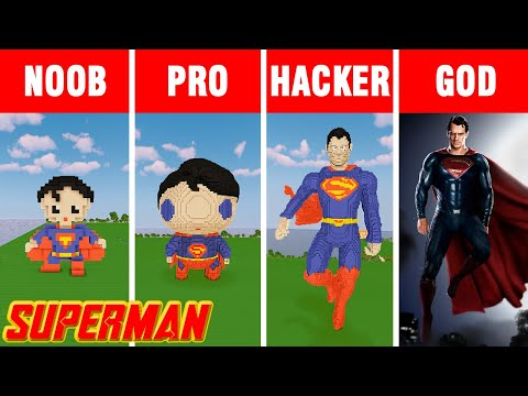 Minecraft NOOB vs PRO vs HACKER vs GOD: SUPERMAN BUILD CHALLENGE in Minecraft / Funny Animation