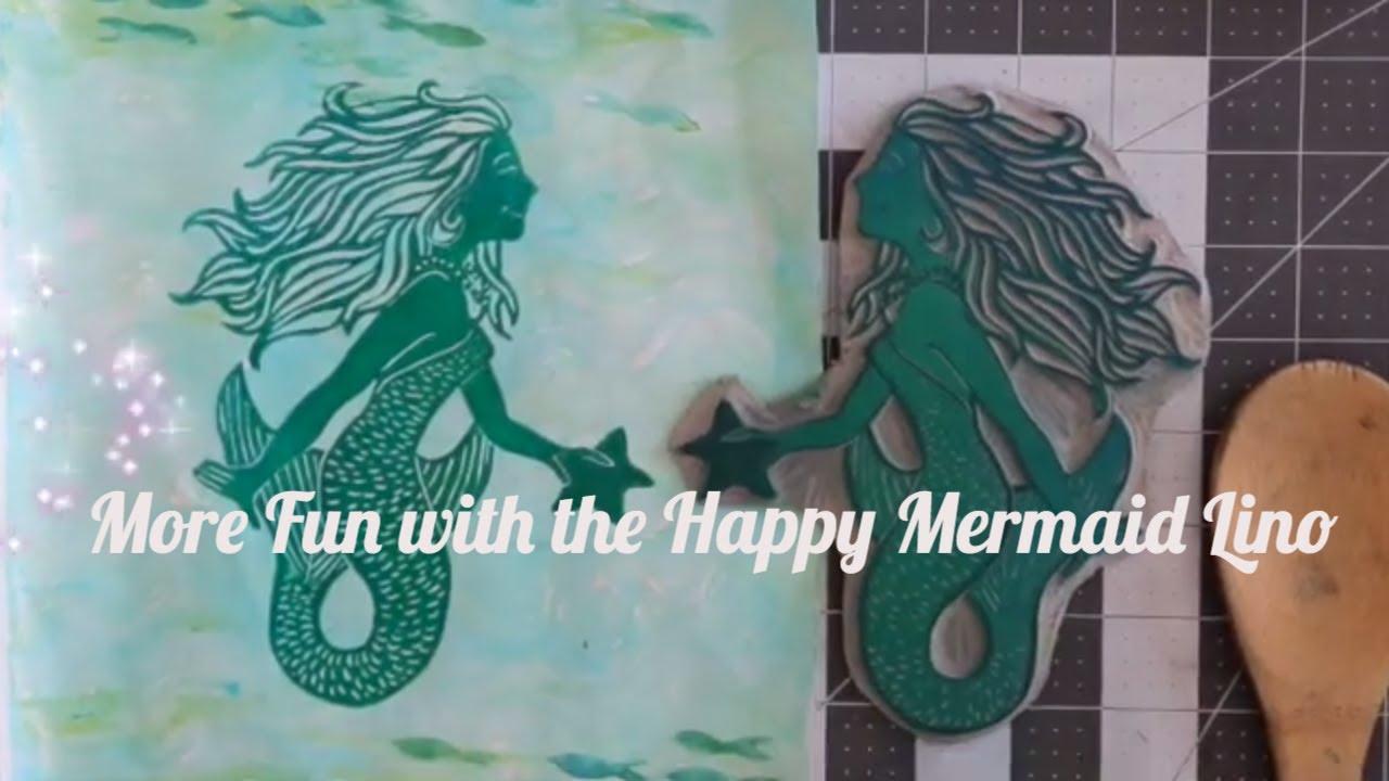 Gelli Print and Happy Mermaid Lino - Table Top Printing