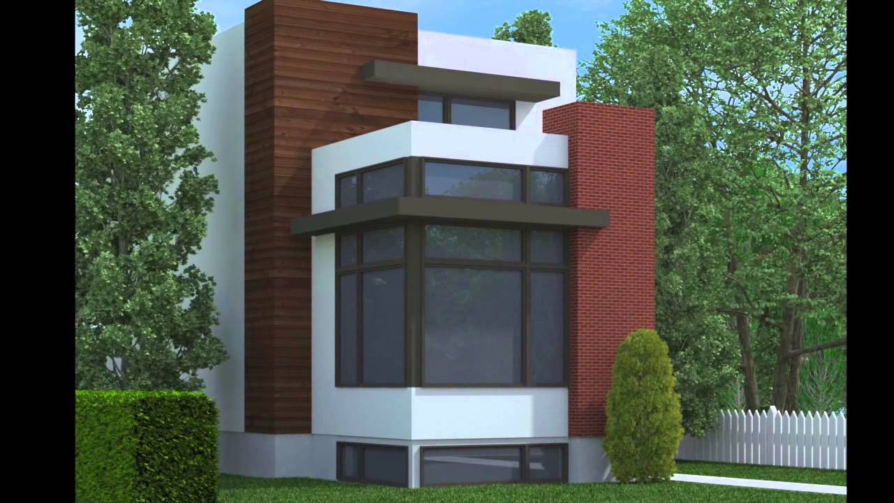 Contemporary narrow lot home plans youtube for Modern home plans for narrow lots